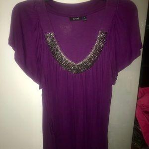 Apt. 9 Purple Flowy Blouse with beaded neckline